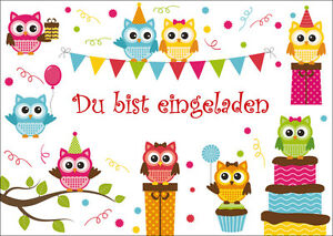 Detalles De 8 Süsse Buhos Tarjetas De Invitación Para Cumpleaños Infantiles Invitaciones
