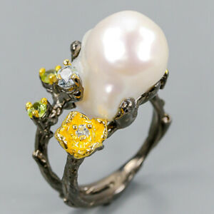 Vintage-SET-Natural-Baroque-Pearl-925-Sterling-Silver-Ring-Size-6-75-R102838