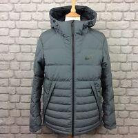 Nike Men Uk M Grey Hooded Duck Down Puffa Jacket Rrp £120