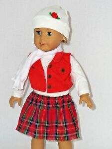 Red-Vest-Plaid-Skirt-Set-Fits-18-034-American-Girl-Doll-Clothes