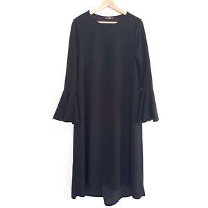 Shein-Women-039-s-Size-L-Black-Long-Bell-Sleeve-Gothic-Dress