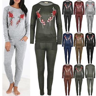 New Womens Floral Knit Fleece Embroidery Sweatshirt Ladies Jog Jogging Tracksuit