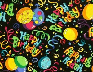 FAT-QUARTER-PARTY-HAPPY-BIRTHDAY-CELEBRATE-COTTON-FABRIC-BALLOONS-STREAMERS-FQ