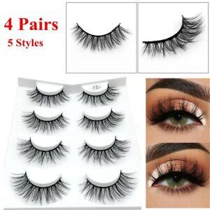100a4484568 4 Pairs 3D Mink Hair False Eyelashes Thick Long Lashes Wispy Fluffy ...