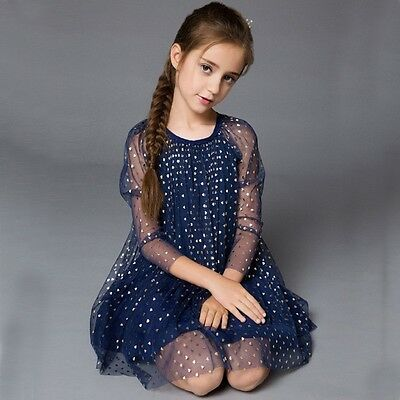 Lovely Occasion Heart autumn winter Birthday Princess Navy Party Dress For Girls