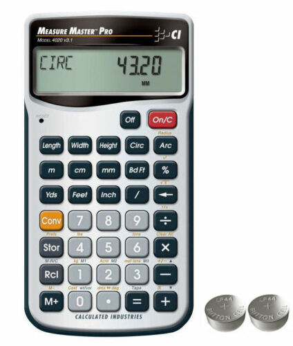 Measure Master Pro Calculator 4020 with Spare LR44 Batteries Calculated Ind