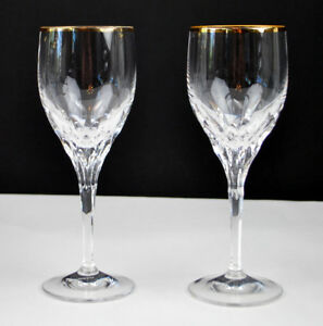 Gorham-DIAMOND-GOLD-Fine-Crystal-Set-of-2-glasses