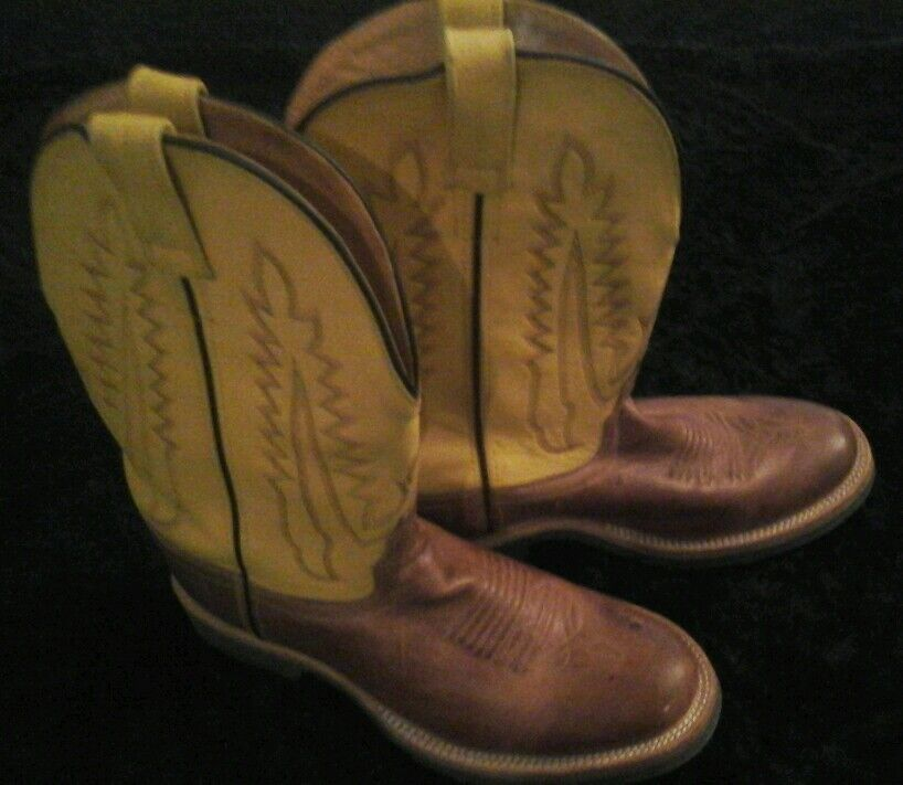 Old West Yellow Brown Western Cowboy Boots Men's  7.5 Awesome