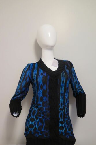 Alberto makali NEW cobalt shirt with knit design on sleeve and shirt 80/%OFF!