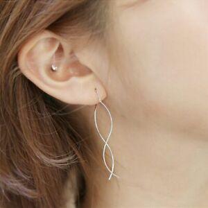 Damen-Ohrringe-Durchzieher-Wellen-echt-Sterling-Silber-925-Ohrhaenger