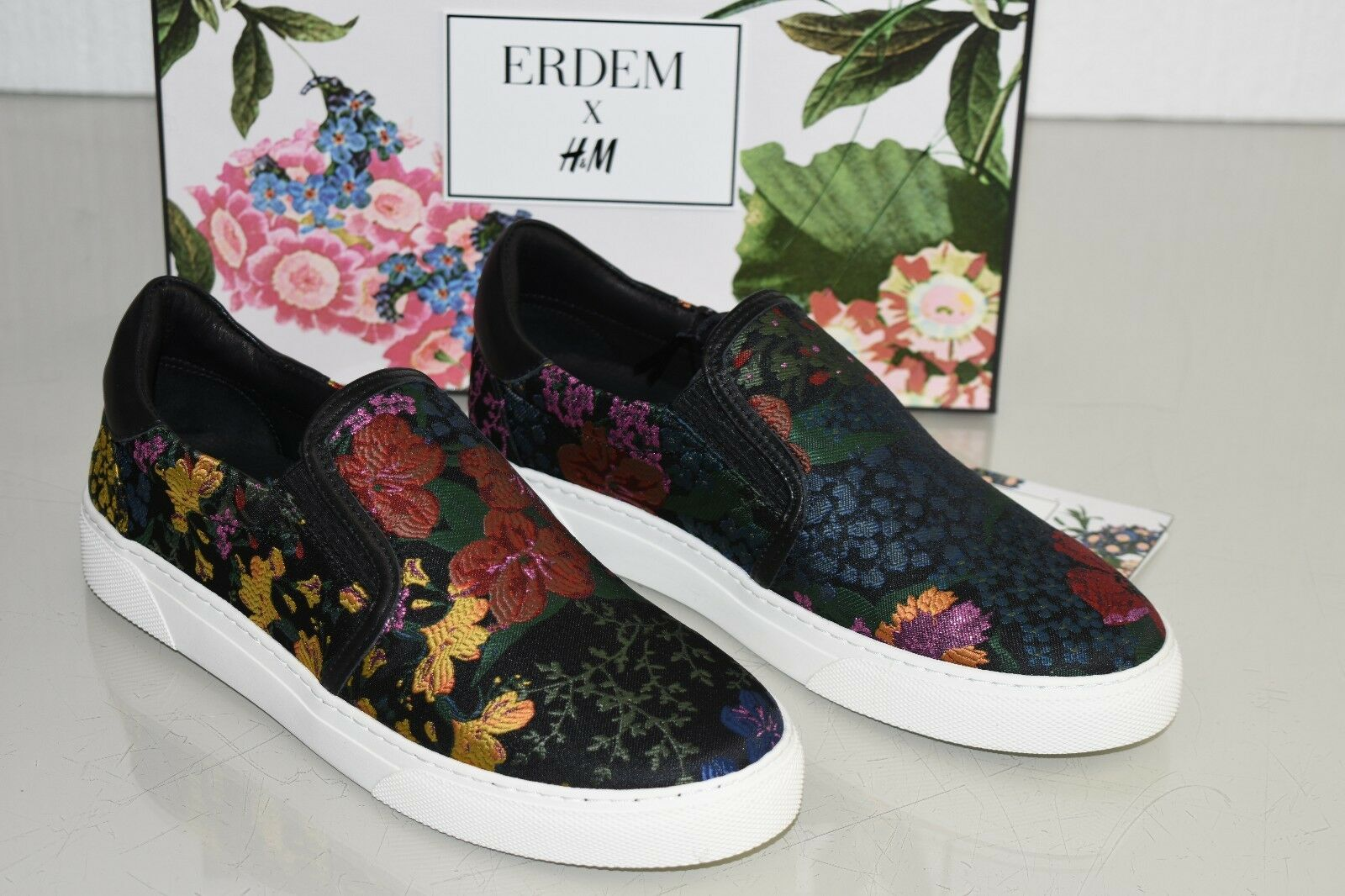 NEW Erdem x h&m Floral Slip On Black Navy Jacquard Sports shoes 8 ship