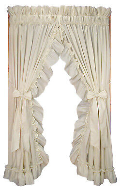 Stephanie Solid Color Country Ruffled Priscilla Window