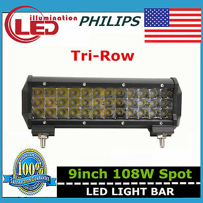 Tri-Row 9inch 108W LED Light Bar Spot Offroad Car Boat Ford 4WD Lamp 7D Philips