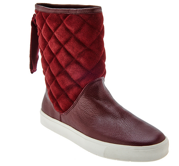 Isaac Mizrahi Live  SOHO Quilted Boots Back Ribbon Detail Mulberry Women's 7