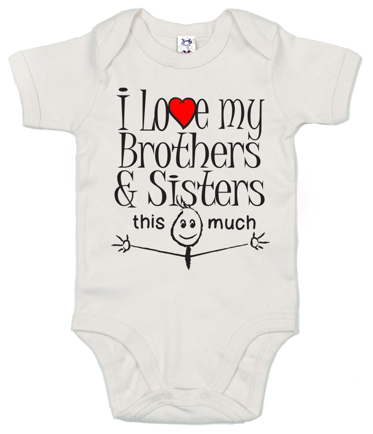 """Funny Baby Bodysuit /""""I Love My Grandpa this Much/"""" Trimmed Babygrow Grandfather"""