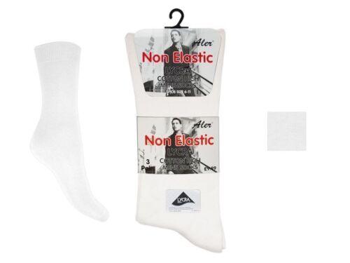 6 Hommes Non Élastique Lycra ® riche en coton ample large TOP chaussettes UK 6-11