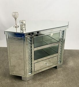 Venetian Mirrored Glass Floating Crystal Large 1 Drawer Tv