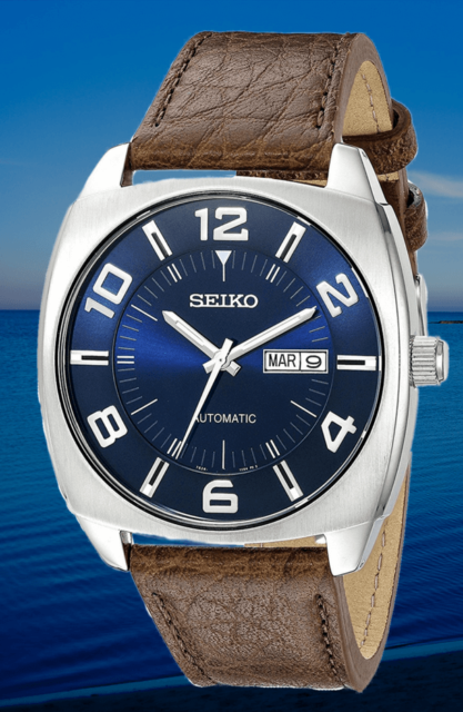 hot sale online 8a883 0cacd Seiko Automatic SNKN37 Recraft Men's Blue Dial Watch Brown Leather Strap  43mm