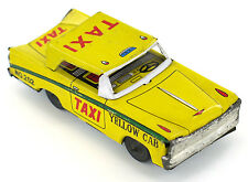 Vintage HAJI Galaxie TAXI Yellow Cab Car Friction Toy Tinplate  Japan 60's