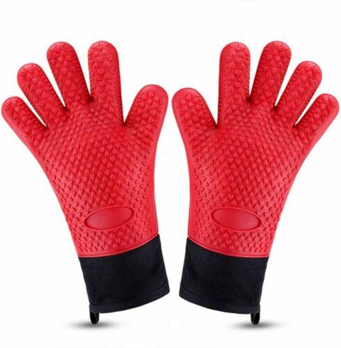 Grill Gloves Water// Heat Resistant Gloves BBQ Silicone Oven Mitts Long Non-Slip
