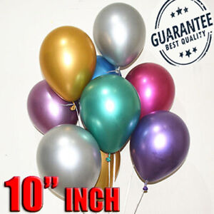 10-034-Perla-Metallico-Cromato-LATTICE-PALLONCINI-per-festa-di-compleanno-matrimonio-UK-10-100PCS