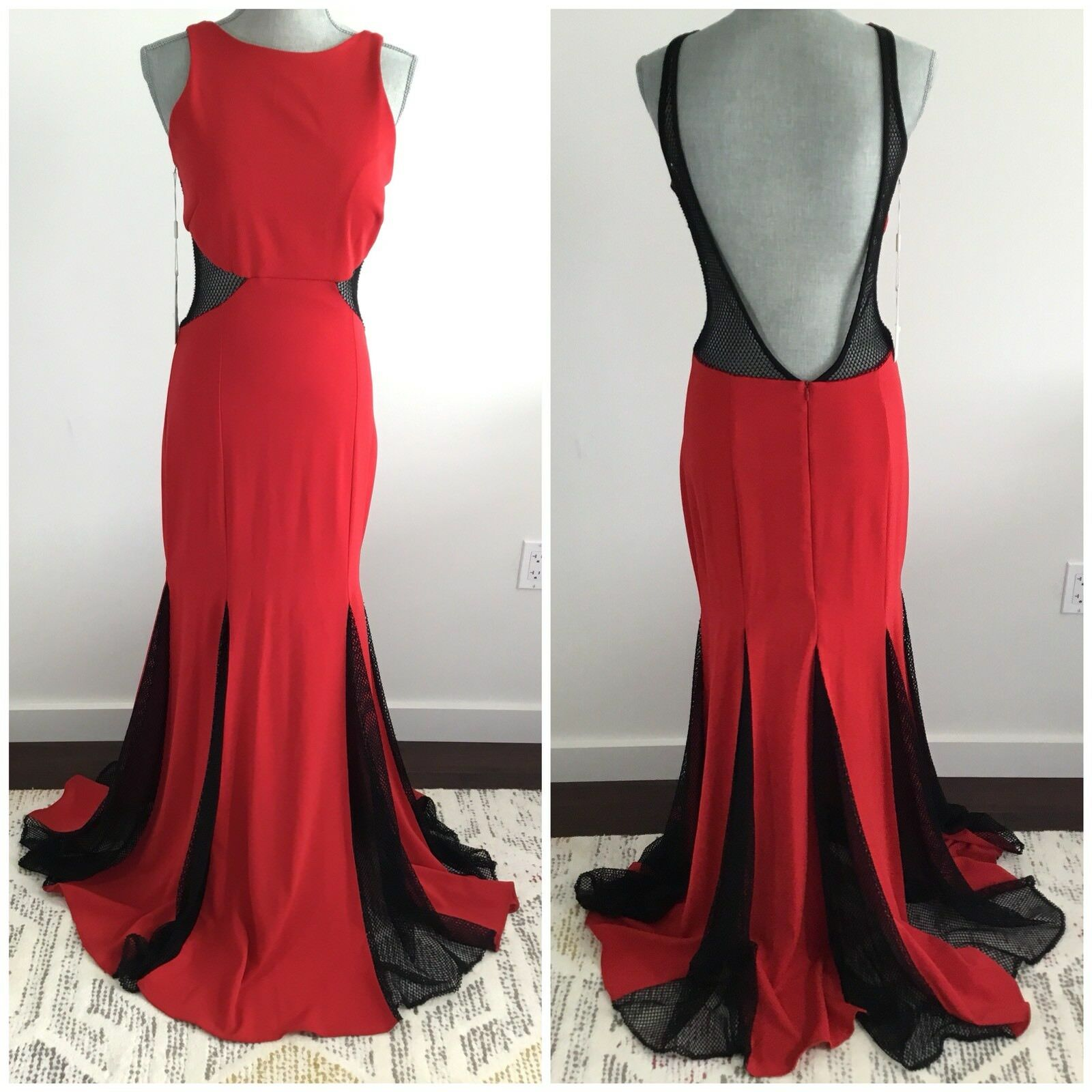 ISSUE NEW YORK Größe M Medium Razor Front Mesh Open Back Evening Dress rot