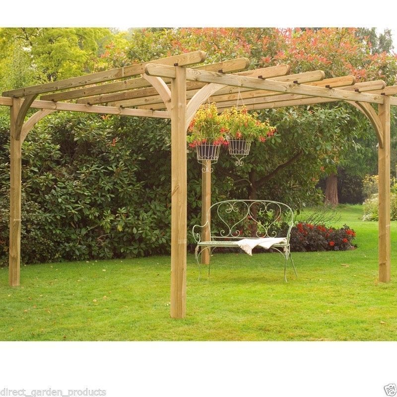 10ft 12ft WOODEN PERGOLA PRESSURE TREATED TIMBER GARDEN ARBOUR