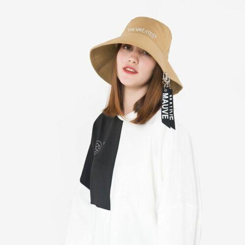 Fashion Female Ribbon Letter Basin Cap Flat Top Big Brim Bucket Hat Casual Style