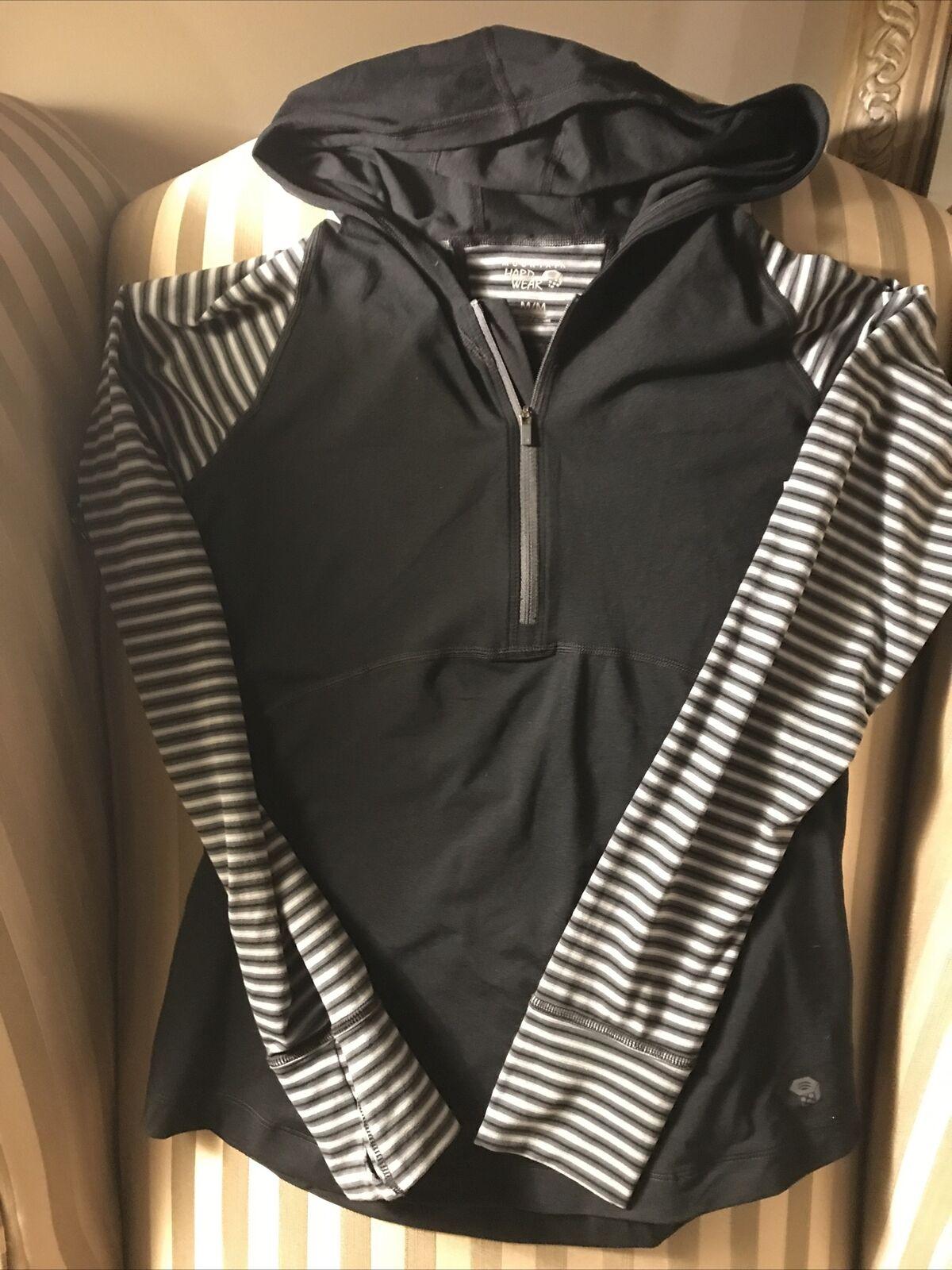 New Mountain Hardwear Womens Sz M Pullover with Hood 1/4 Zip Black/Gray