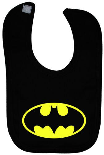 Bat Baby Feeding Bib Newborn-3y Approx Batman Boy Girl Gift Touch Fastener Black