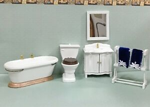 Image Is Loading Dollhouse Miniature White Bathroom Set With Towels 7