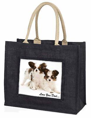 Papillon Hunde' liebe Dich Papa' große schwarze Einkaufstasche WEIHNACHTEN Prese