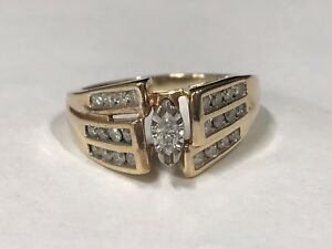 Beautiful-14k-Yellow-Gold-Marquis-Diamond-Ring-with-Side-Stones