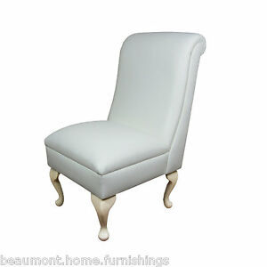 Small Occasional Bedroom Chair Retro White Leather Living Room ...