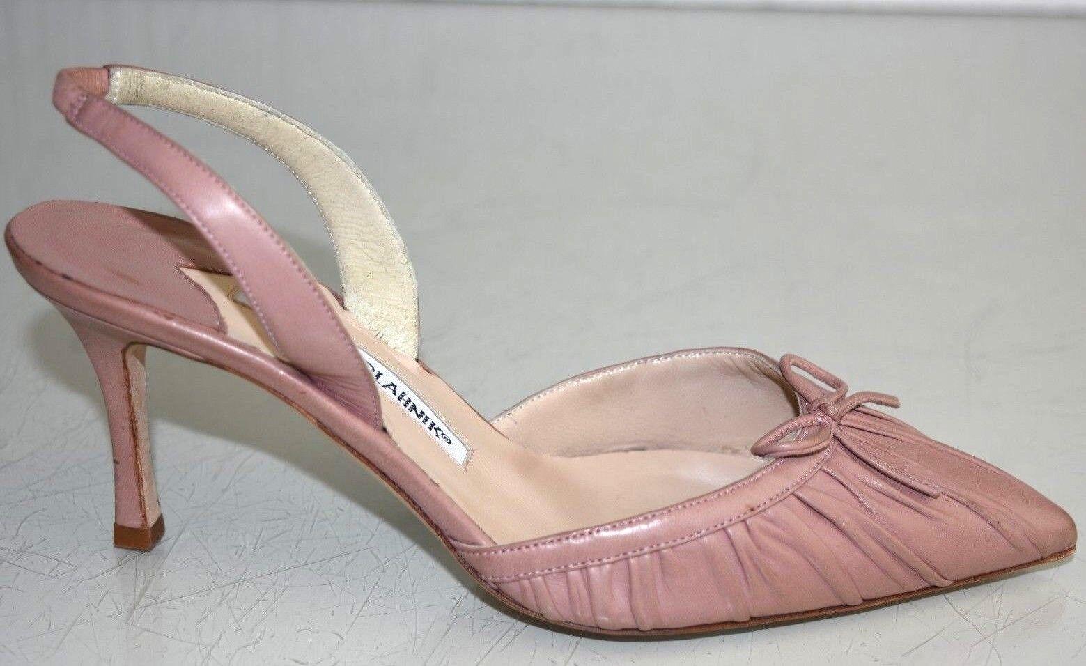 New Manolo Blahnik RAGANGISLI 70 Carolyne Pump Leather Halter pink Nude shoes 37
