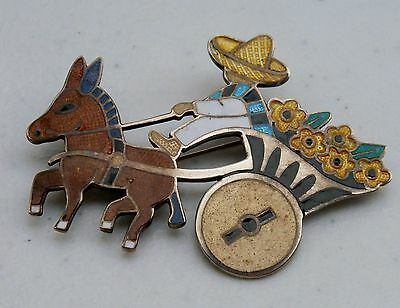 Margot De Taxco Mexico Sterling Silver Enameled Donkey Burro Cart Brooch Pin