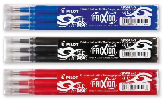 Pilot Frixion Punta Redonda Borrable Recambios para Bolígrafos Negro,Azul,Rojo