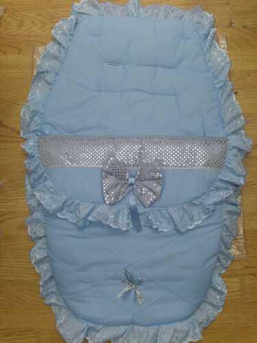 Belle bleu//argent poussette Cosytoes//manchon de pieds Romany style bling couleur