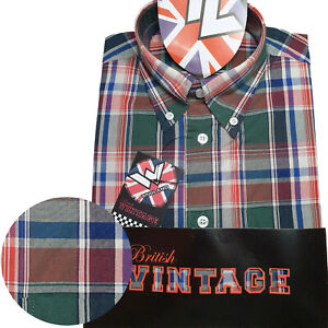 Warrior-UK-England-Button-Down-Shirt-MAYTONE-Slim-Fit-Skinhead-Mod-Retro