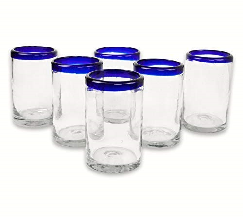 Mexican Blown Glass Drinking Glasses Cobalt Blue Rim Set of 6
