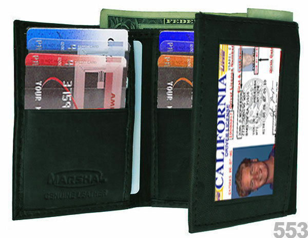 BLACK MEN'S GENUINE PLAIN LEATHER TRIFOLD WALLET ID WINDOW 12 CREDIT CARDS
