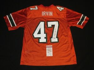 brand new 9f68d d3433 Details about MICHAEL IRVIN SIGNED MIAMI HURRICANES NIKE SEWN THROWBACK  JERSEY JSA COWBOYS