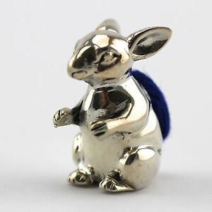 COLLECTABLE MINIATURE EDWARDIAN STYLE BUNNY RABBIT PIN CUSHION STERLING 925