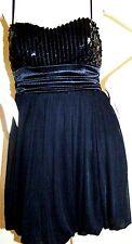 NWT SPEECHLESS COCKTAIL DRESS Sz M Black Mini-Dress SEQUIN TRIM Balloon Skirt