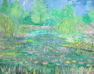 Waterlilies-in-the-Wild-Garden-a-large-painting-on-canvas-by-Jenny-Hare