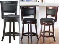 Counter Height Bar Stool Wood Kitchen Office Swivel Stool Chair Island Seats