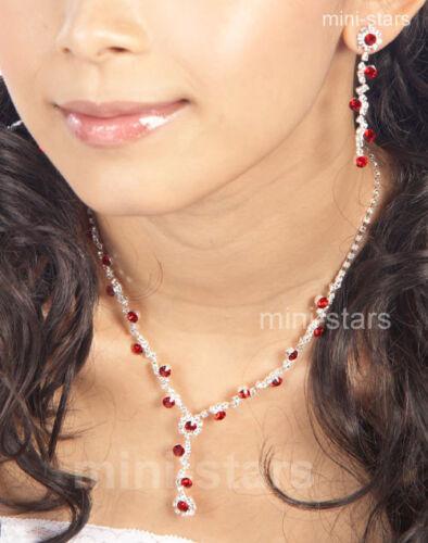 Hochzeit Halskette Ohrringe Rot Schmuckset S1135