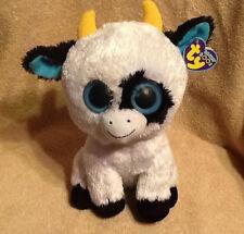 """Big Ty Beanie Boo Daisy 9"""" Plush Cow w/ Tag ~Solid Blue Eyes ~ Retired"""