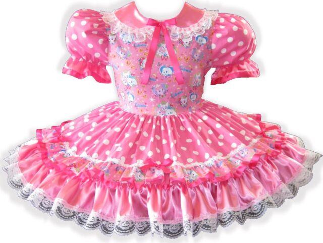"/""Arianna/"" CUSTOM FIT Pink Satin Glitter Unicorn Adult Baby Sissy Dress LEANNE"