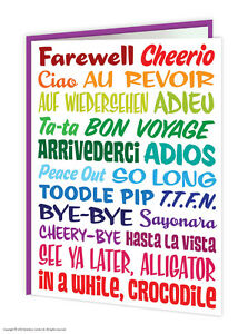 Leaving Work Job Bon Voyage Goodbye Good Luck Greeting Card Funny Comedy Humour